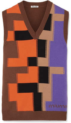 Miu Miu Color-block Intarsia Wool Top - Brown