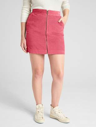 Gap Zip-Front Cord Mini Skirt
