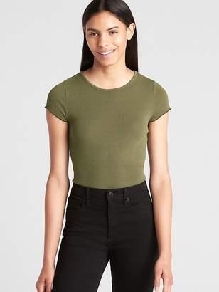 Gap Featherweight Ruffle Sleeve Ribbed T-Shirt