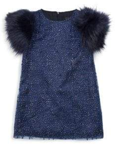 Imoga Little Girl's & Girl's Sage Faux-Fur Sleeve Party Dress