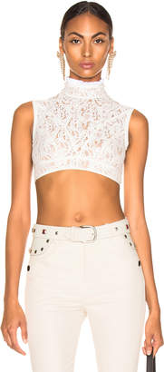 Chloé Lace & Jersey Sleeveless Crop Top