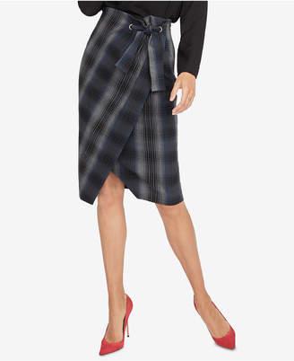Rachel Roy Plaid Wrap Skirt