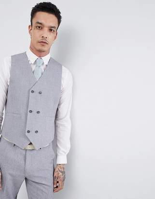 Hatch ASOS DESIGN wedding slim suit vest in mid gray cross with printed lining