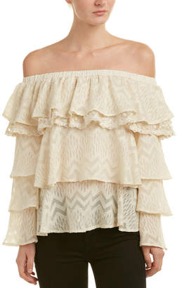 Champagne & Strawberry Off-The-Shoulder Top