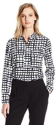 Jones New York Women's Plaid Printed 2-Pckt Buttondown Blouse $79.50 thestylecure.com