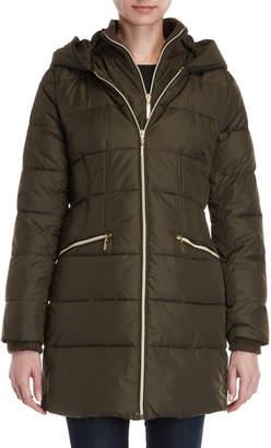 Kensie Vested Hooded Longline Coat