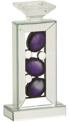DecMode Decmode Wood Mirror Candleholder, Multi Color