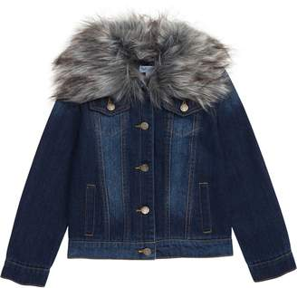 Splendid Denim Jacket with Removable Faux Fur Collar