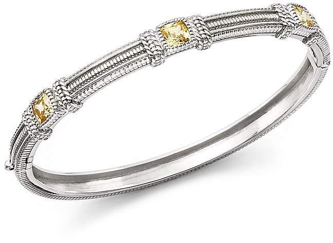 Judith Ripka Triple Cushion Bangle Bracelet with Canary Crystal