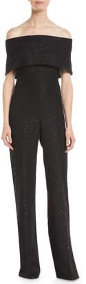Lela Rose Off-the-Shoulder Straight-Leg Sparkle Tweed Jumpsuit
