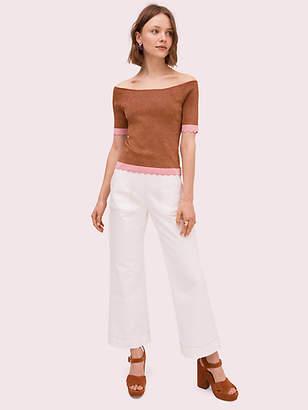 Kate Spade Scallop Textured Sweater, Warm Caramel - Size L