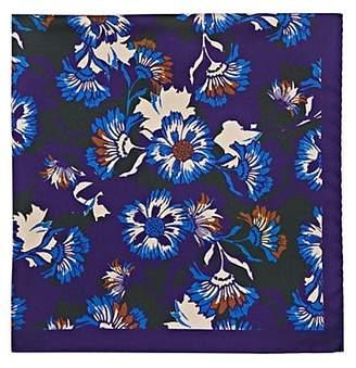 Barneys New York Men's Floral Silk Twill Pocket Square - Purple