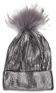 Bari Lynn Bari Lynn Kid's Fox Fur Pom-Pom Metallic Knit Hat