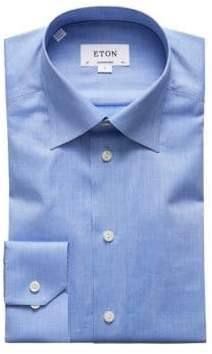 Eton Men's Contemporary Fit Solid Dress Shirt - Blue - Size 15