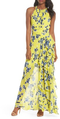 Eliza J Halter Ruffle Maxi Dress