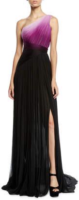 Pamella Roland One-Shoulder Ombre Chiffon Gown