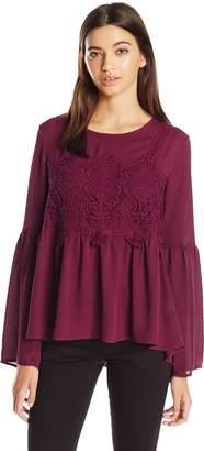 Jolt Women's Chunky Lace Trip Bell Sleeve Top