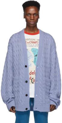 Matthew Adams Dolan Blue Cable Knit Oversized Cardigan