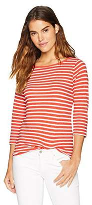 Three Dots Women's Saguaro Stripe 3/4 SLV Long Tight British Tee