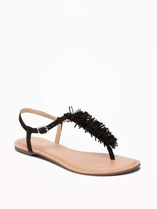 Old Navy Sueded Fringe T-Strap Sandals for Women