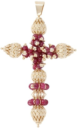 Arte D'oro Arte d'Oro Gemstone & Filigree Bead Cross Pendant, 18K