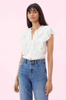 Rebecca Taylor Silk Cotton Voile Ruffle Top