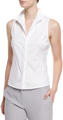Armani Collezioni Sleeveless Poplin Button-Front Blouse, White $425 thestylecure.com