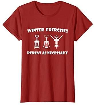 Winter Exercise T-Shirt Wine Corkscrew Cork Bottle