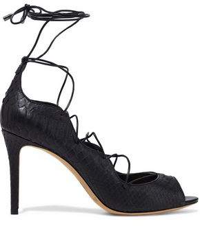 Alexandre Birman New Donna Lace-up Python Pumps