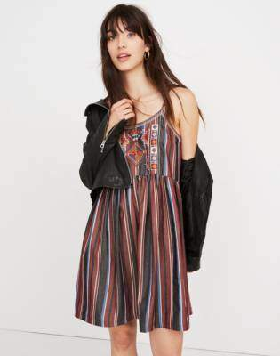 Madewell Embroidered Babydoll Cami Dress in Stripe