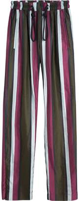 Burberry Striped Cotton Silk Satin Tailored Track Pants