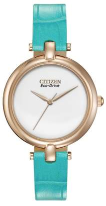 Citizen Women's Eco-Drive Silhouette Rose Gold-Tone Blue Leather Strap Watch, 34mm