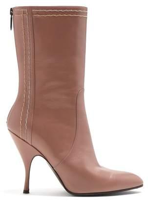 Bottega Veneta Chain Embellished Leather Boots - Womens - Light Pink