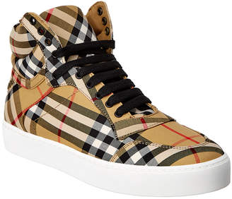 Burberry Vintage House Check Leather High-Top Sneaker