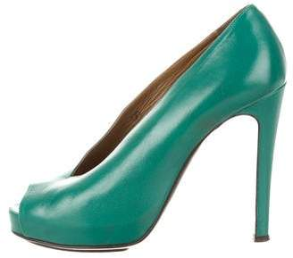 Hermes Leather Peep-Toe Pumps