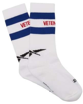 Vetements X Reebok Logo Striped Cotton Blend Socks - Womens - White