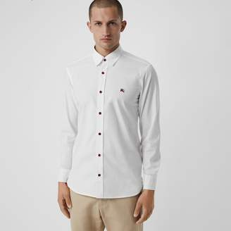 Burberry Contrast Button Stretch Cotton Shirt