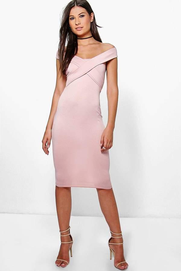 boohoo Mia Off The Shoulder Midi Bodycon Dress