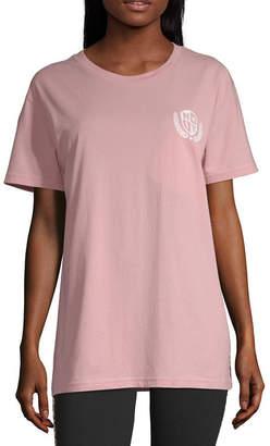 Flirtitude Womens Crew Neck Short Sleeve Graphic T-Shirt-Juniors