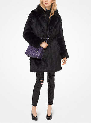 Michael Kors Belted Faux-Fur Coat