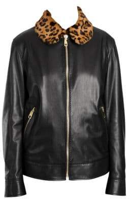 Dolce & Gabbana Leopard Print Collar Leather Jacket