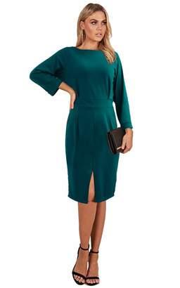Longwu Women's Elegant Long Sleeve Open Back Front Slit Pencil Dress Zipper -S