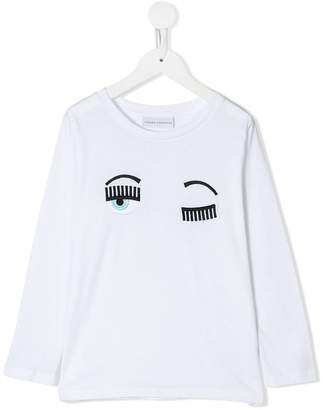 Chiara Ferragni Kids Wink embroidered eye top