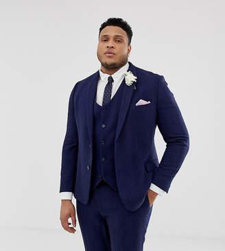 7cb220dfe327ff Asos Design DESIGN Plus wedding skinny suit jacket in blue wool blend  herringbone