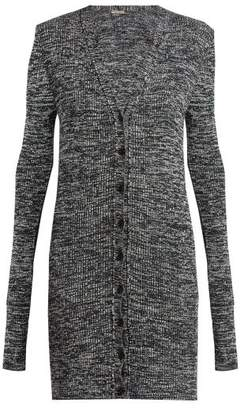 Bottega Veneta Long Sleeved Chenille Cardigan - Womens - Grey Multi