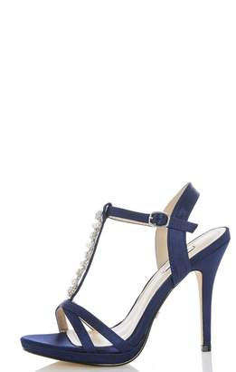 Quiz Navy Satin Pearl and Diamante Sandals