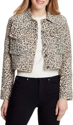 Ella Moss Cheetah-Print Dolman Denim Jacket