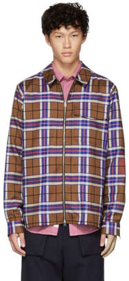 Schnaydermans Pink and Red Large Check Zip Shirt