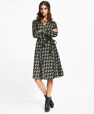 Brooks Brothers Snow Blossom-Print Cotton Sateen Wrap Dress