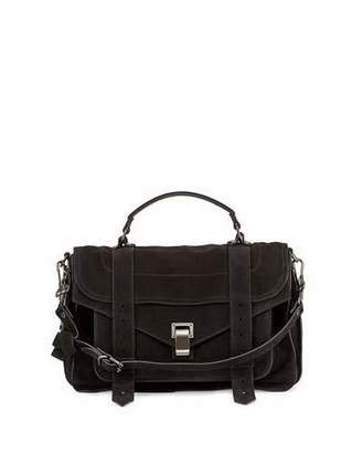 Proenza Schouler PS1 Medium Suede Satchel Bag, Black $1,780 thestylecure.com